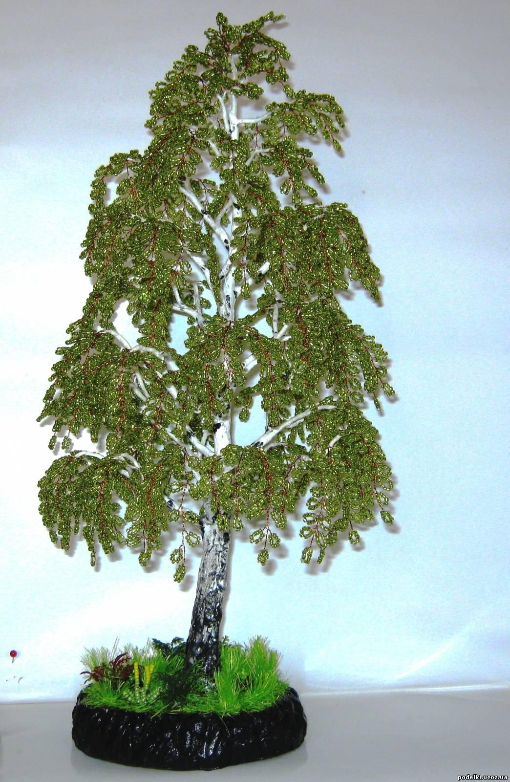 Дерево из бисера мастер класс с пошаговым береза