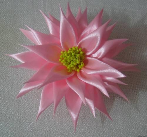 Канзаши заколка розовый георгин