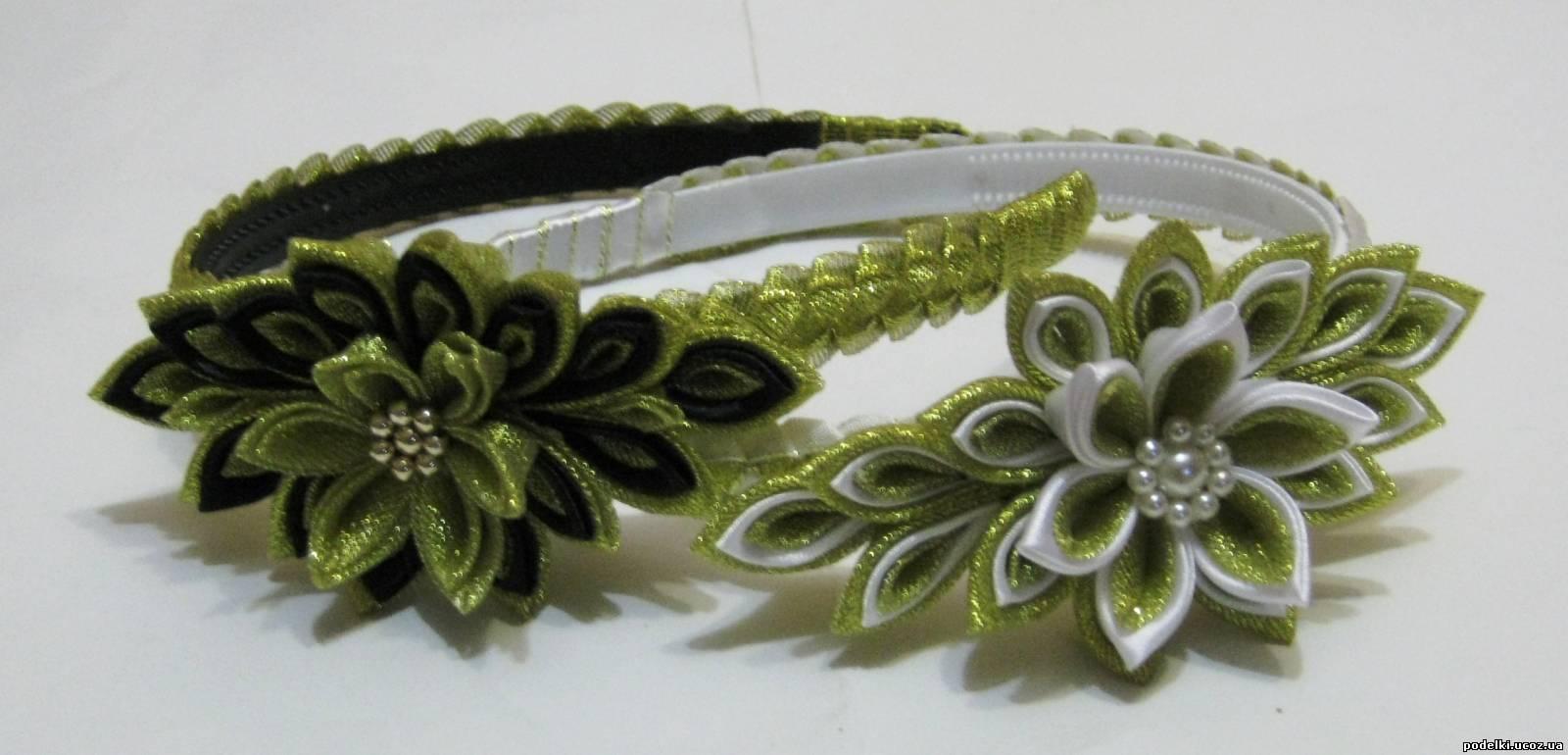 Обруч для волос с цветами из лент своими руками