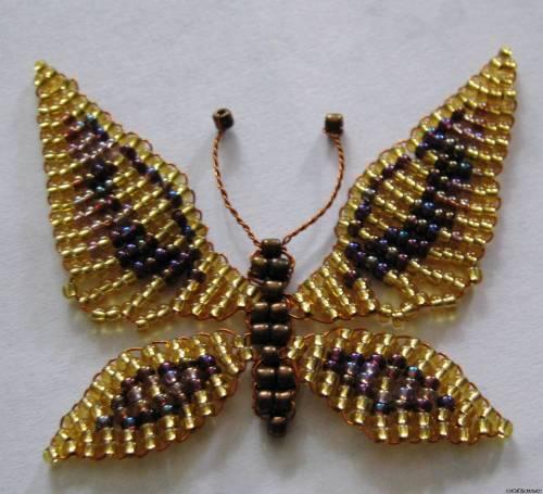 Брошь из бисера- Бабочка.